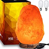Himalayan Salt Lamp by Majestic Pure (8-11 lbs)   Natural Salt Rock Lamp, Hand Carved, Wooden Base, Brightness Dimmer, 3 Bulbs, UL-Listed Cord and Gift Box