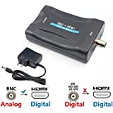 BNC to HDMI Converter - Female BNC Video Component Adapter Analog CVBS Input HDMI Composite Connector Box Hook up HD TV Monitor Security Camera CCTV VCR DVRs 720 1080P Output HDCP Deep Color