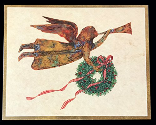 Caspari Weathervane Angel Boxed Christmas Cards Box of 16 (Cherub Weathervane)