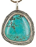 Large $770 Retail Tag Silver Handmade Authentic Made by Robert Little Navajo Natural Turquoise Native American Necklace
