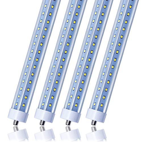 (T8 T10 T12 LED Light Tube, 8ft, 72W (150W Equivalent), 6500K, 7200 Lumens, Single Pin FA8 Base, V Shape, Clear Cover, Dual-Ended Power, Ballast Bypass, Fluorescent Light Bulbs Replacement (4-Pack))