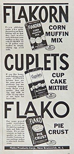 (Flakorn Corn Muffin Mix, 40's Print ad. B&W Illustration (Flako Pie Crust) Authentic original, Vintage 1940 Woman's Day Magazine Print Art)