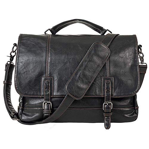 (Mens Leather Messenger Bag 15.6 Inch Business Briefcase Waterproof Vintage Leather Large Satchel Shoulder Bag Leather Computer Laptop Bag Briefcase-Black )