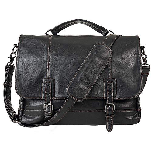 - Mens Leather Messenger Bag 15.6 Inch Business Briefcase Waterproof Vintage Leather Large Satchel Shoulder Bag Leather Computer Laptop Bag Briefcase-Black