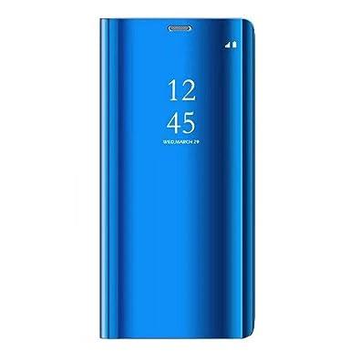 Caler Funda Compatible para Huawei P8 Lite 2017 Flip Tapa Libro Carcasa - Modelo Fecha y Espejo Brillante tirón del Duro Case,Espejo Soporte Plegable ...