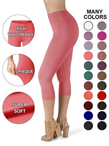 SATINA High Waisted Super Soft Capri Leggings - 20 Colors - Reg & Plus Size (One Size, (Pink Soft Capris)