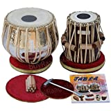 Maharaja Musicals Tabla Drum Set, Concert Quality, 4.5 Kilograms Chromed Copper Bayan, Sheesham Tabla Dayan with Padded Bag, Book, Hammer, Cushions, Cover, Tabla Instrument Indian (PDI-AAD)