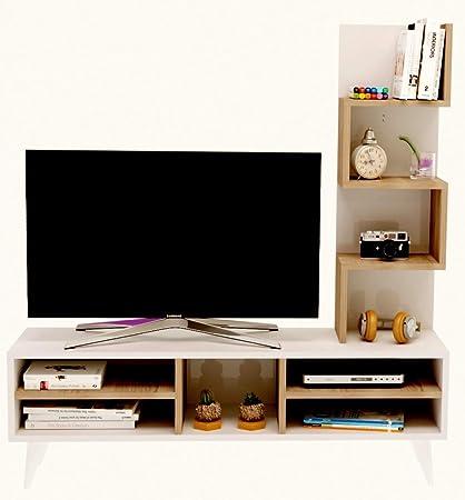 Parete Attrezzata Con Mensole.Lily Set Soggiorno Parete Attrezzata Mobile Tv Porta Con Mensola In Moderno Design Avola Bianco