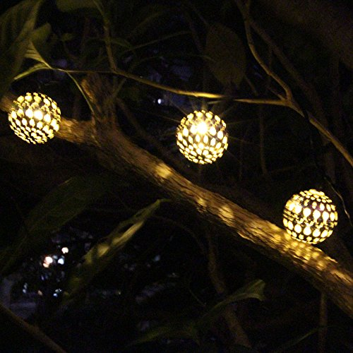 Solar Metal String Lights : JOJOO 12 LED 12ft Moroccan Solar String Lights Metal Globe Lanterns Ornament New eBay