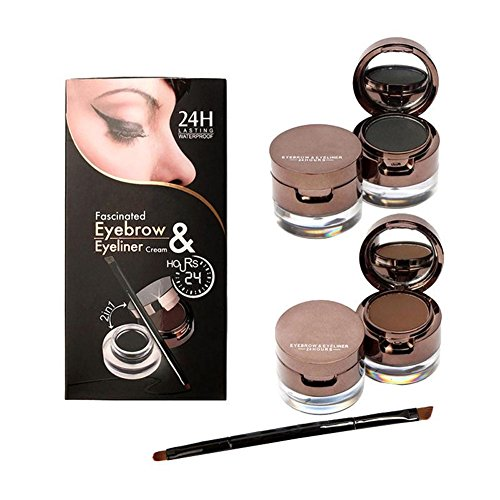 Brown Powder Eyeliner - KeyZone New Useful Brown+Black Gel Eyeliner and Eyebrow Powder Makeup Brush Set