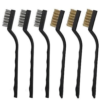 6pcs mini cepillo de alambre con latón y acero para limpieza soldadura escoria y Rush