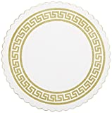 "Hoffmaster 876074 Budgetboard Coaster, 3-3/8"" Diameter, Gold Greek Border (Case of 2500)"