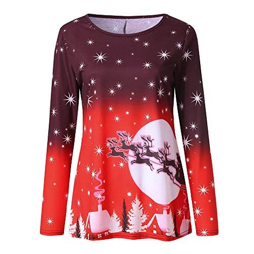 Body Sculpt T-shirt Bra - Sunhusing Ladies Round Neck Christmas Print Long Sleeve T-Shirt Top Fashion Casual Pullover Shirt Blouse