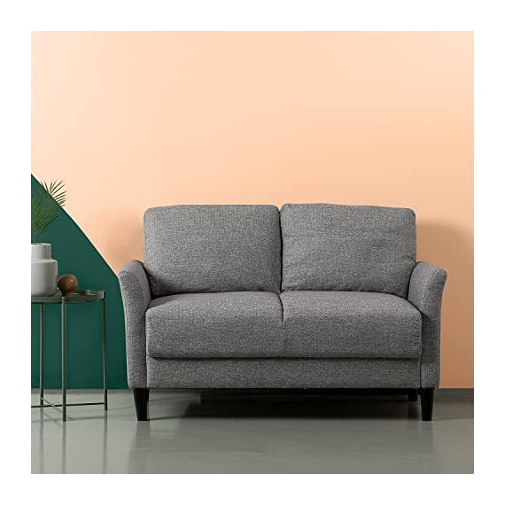 Zinus Jackie Love Seats, Loveseat, Soft Grey - A SMALL SPACE'S BEST FRIEND - Don't let your smaller spaces go bare! This 53 inch loveseat is soft yet supportive and perfectly suited for an apartment, small office or cozy nook BUILT TO LAST - A naturally strong frame is wrapped in supportive foam cushioning and durable woven fabric; seats a maximum weight capacity of 500 lbs; seat cushions are secured to the frame and are not detachable, while back cushions are detachable TOOL FREE ASSEMBLY - All parts and instructions are cleverly packed into one box for easy assembly in less than 20 minutes - sofas-couches, living-room-furniture, living-room - 51gbfGwEriL. SS570  -