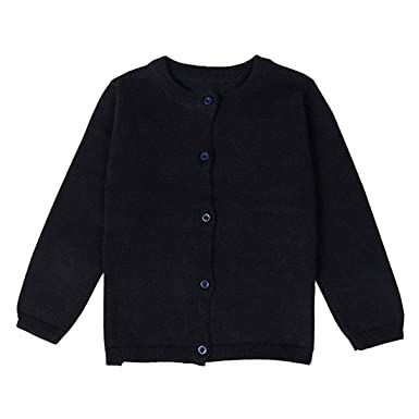 46d8e0bdf Dutebare Baby Girls Cardigan Sweaters Toddler Long Sleeve Crewneck Uniform  Knit Cardigans Black 2T