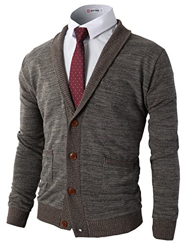 H2H Mens Slim Fit Cardigan Sweater Shawl Collar Soft Fabric with Ribbing Edge