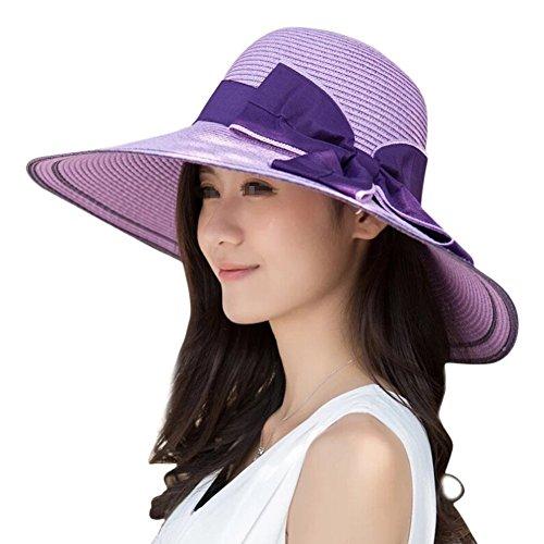 EUBUY Ladies Summer Straw Panama Foldable Bowknot Floppy Sun Hat Large Wide Brim Beach Hat Cap Sun Visor UPF 50 for Women Female Light