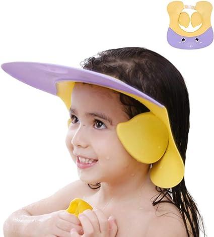 Bonnet de Protection de Douche pour Enfants Convient aux Tout-petits Rose Chapeau Douche B/éb/é,Bonnet de Douche Pare-soleil R/églable Bonnet de Douche en Silicone Mignon et Doux