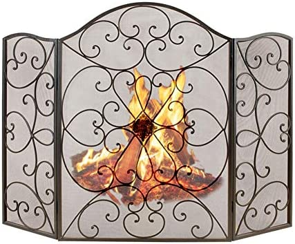 暖炉スクリーン 3パネルの錬鉄スクリーン、屋外の金属の網カバー、居間の赤ん坊の安全火災安全スパークガードカバー(黒)