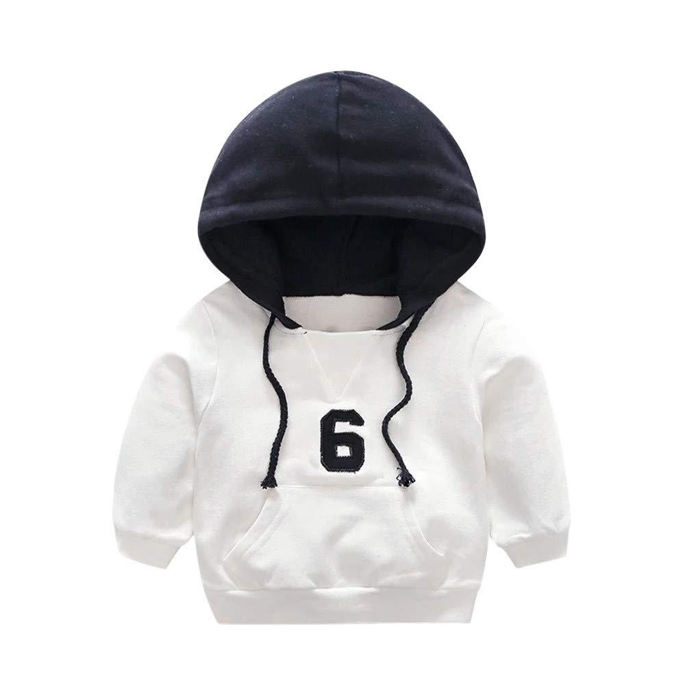 KONFA Toddler Newborn Kids Baby Boys Girls Hooded Sweatshirt Pocket Pullover Long Sleeve Hoodie Fall Winter Clothes