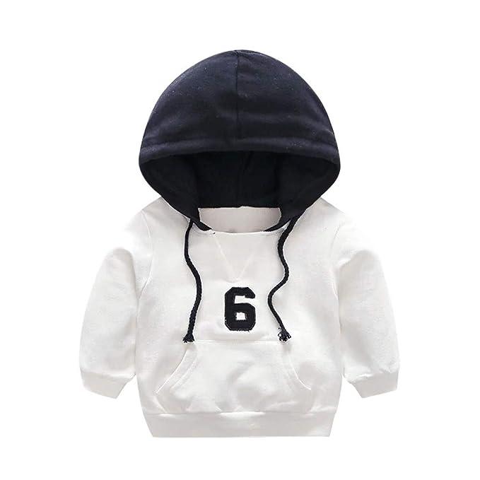 Mitlfuny Invierno Caliente Bebé Sudaderas de Manga Larga Letras Número Costura Grueso Camisetas Unisex Niños Niñas