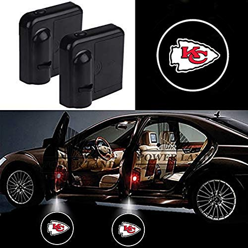 For Kansas City Chiefs Car Door Led Welcome Laser Projector Car Door Courtesy Light Suitable Fit for all brands of cars(Kansas City Chiefs)