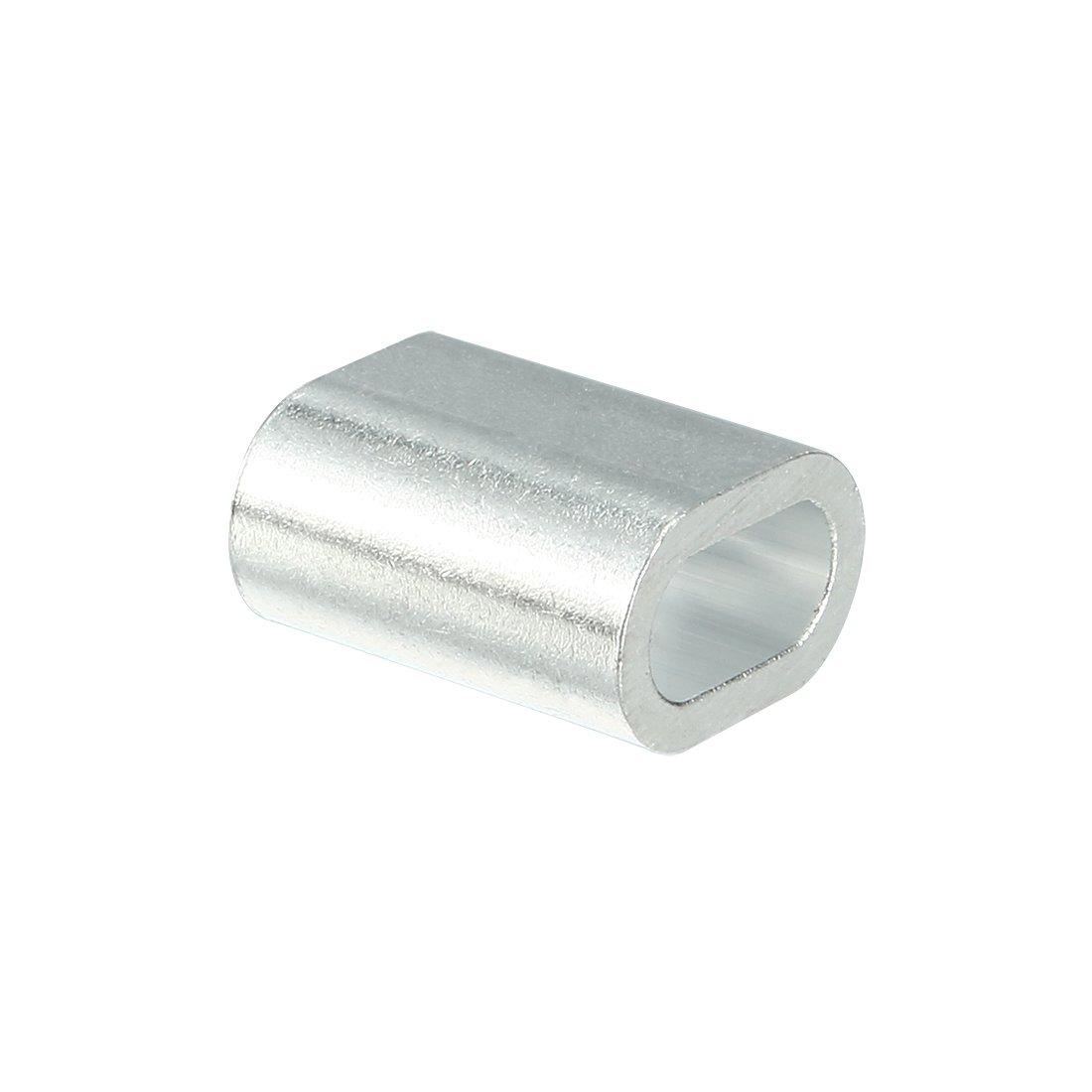 sourcingmap/® 4mm C/âble 5//32 pouces C/âble m/étallique ovale en aluminium Clips Manchons Boucles sertissage 25pcs