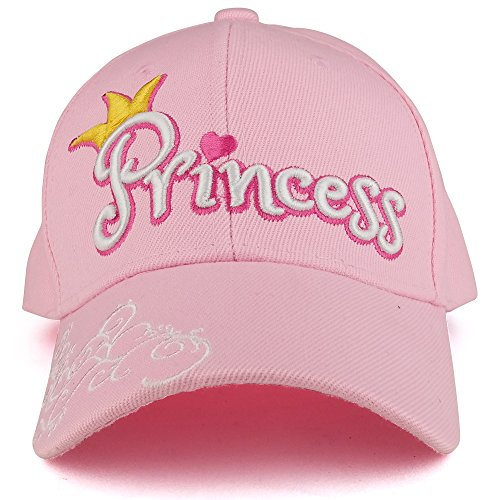 Trendy Apparel Shop Youth Size Girl's 3D Princess Swirl Embroidery Structured Baseball Cap - (Swirl Embroidery)