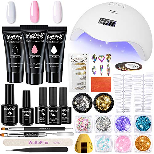 Poly Extension Gel Nail Kit,30g Nail Extension Gel with 48W Nail Lamp Slip Solution Nail Strengthener Rhinestone Glitter All-In-One Mixed Nail Enhancement Starter Gel Builder Nail Technician Set