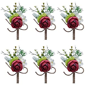 Faylapa 6 Pack Groom Boutonniere Best Man Rose Wedding Flowers with Pin Brooch Bouquet Corsage Classic Artificial Flowers for Wedding Prom Party (Red) 97