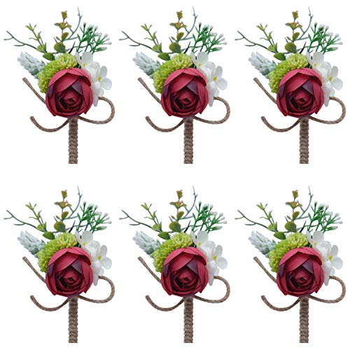 Faylapa 6 Pack Groom Boutonniere Best Man Rose Wedding Flowers with Pin Brooch Bouquet Corsage Classic Artificial Flowers for Wedding Prom Party (Red)