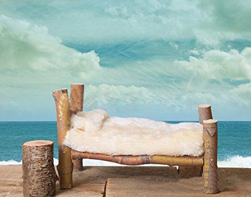 Madera White Fur cama recién nacidos photography Fondo Azul Océano Playa Nubes Sky fondo Madera Stump–Suelo Kids...