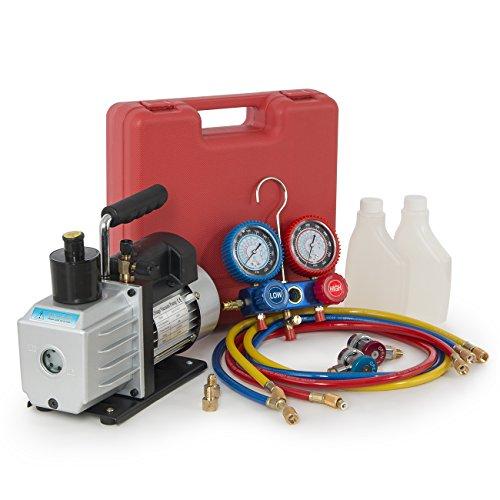 ARKSEN 1/2HP 5 CFM Vacuum Pump, Refrigerant AC Recharge Manifold Gauge, R134A
