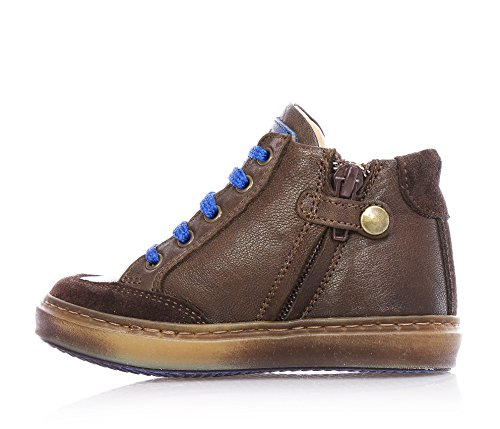 BYBLOS - Brauner Sneaker mit Schnürsenkeln, aus Leder, seitlich ein Reißverschluss, blaue Schnürsenkel und seitlich ein blaues Logo, Spitze, Jungen