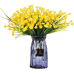 Foraineam 10 Bundles Yellow Daffodils Artificial Flowers Fake Plants Plastic Bushes Greenery Shrubs Fence Indoor Outdoor Hanging Planter Home Garden Decor 7