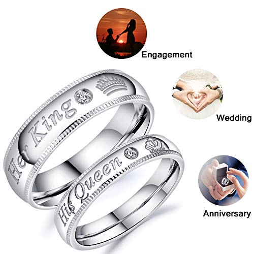 Fate Love Stainless Steel His Queen & Her King Wedding Couple Ring Band Matching Set,Valentines Gifts