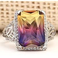 Siam panva 6.5CT Purple Topaz Ametrine zircon 925 Silver Wedding Ring Engagement Size 6-10 (7)