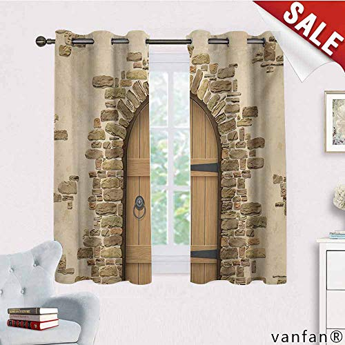 (Big datastore Professional Custom Curtain,Rustic,Wine Cellar Entrance Stone Arch Ancient Architecture European Building,2 Panels with Grommet Topsand Brown Pale Brown,W72 Xl45)
