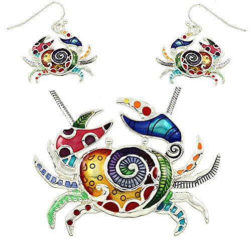 DianaL Boutique Colorful Enameled Hand Painted Crab Pendant Necklace and Earrings Set with 18
