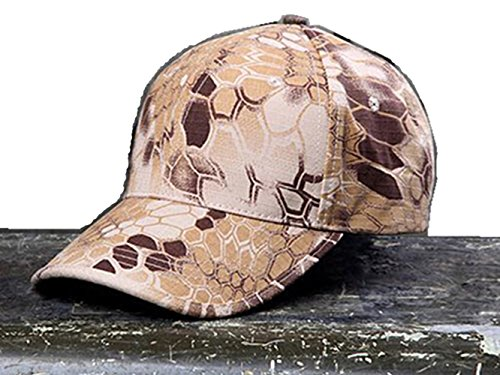 Noga Python Camouflage Hat Simplicity Outdoor Sun Hat Army Hat Woodland Camo Outdoor Tactical Cap for Fishing Hiking Hunting (Desert Python Camouflage) ()