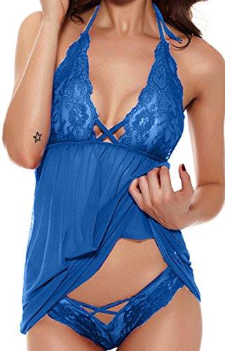 HZH Womens Sexy Lingerie Lace Sleepwear set Transparent Babydoll Halter Dress Blue US6 (Manufacturer Size S)