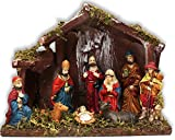 Christmas Nativity Scene - 9 Characters and Wooden Stable Shelter