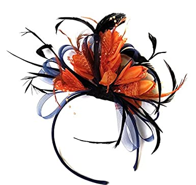 Navy Blue and Orange Feather Hair Fascinator Headband Wedding and Royal  Ascot Races Ladies  Amazon.co.uk  Clothing 73b1bc5f10a