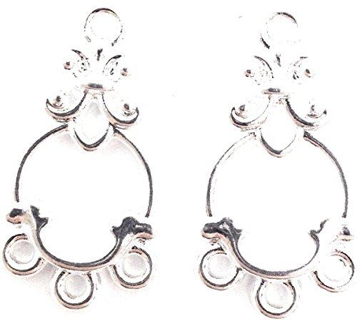 (10 Silver Plated Chandelier Drops 3 Loop)