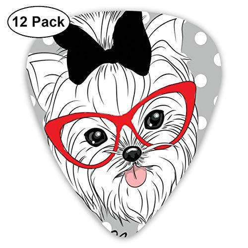 (Guitar Picks 12-Pack,Tilted Head Terrier I Love My Yorkie Red Nerd Glasses Love Heart Polka Dots)