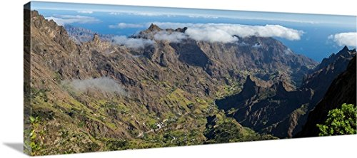Santo Antao Cape (High angle view of valley with mountains, Santo Antao, Cape Verde Gallery-Wrapped Canvas)