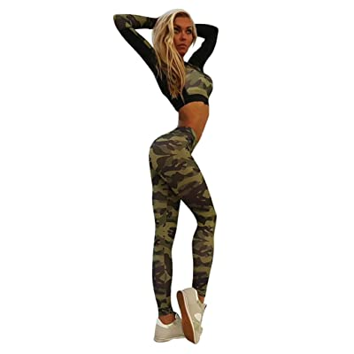 GBSELL Women Slim Sport Yoga Workout Camouflage Top Leggings Pants