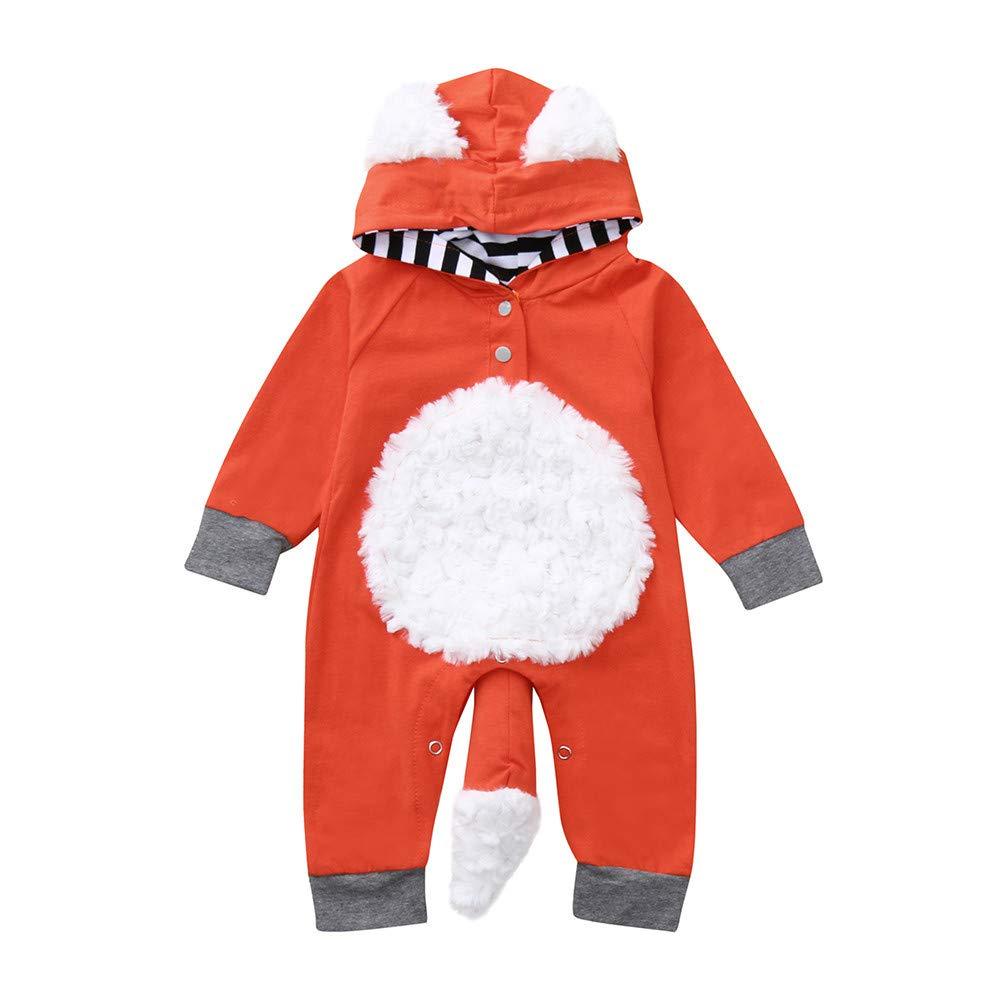 Jimmackey Neonato Incappucciato Pagliaccetto, Bebè Manica Lunga 3D Fumetto Volpe Caldo Tutine Body, Da 3 A 18 Mesi Bambino