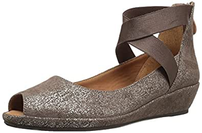 Gentle Souls by Kenneth Cole Women's Lisa Low Wedge PEEP Toe Elastic Strap Shoe, Cocoa, 6 M US