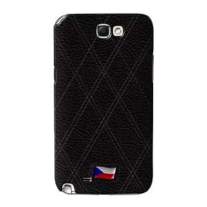 Stylish Black Leather Flag of Czech Republic abrigo lleno carcasa Samsung Galaxy Note 2 de UltraFlags